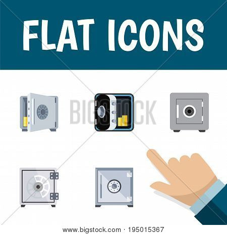 Flat Icon Closed Set Of Locked, Coins, Strongbox And Other Vector Objects. Also Includes Locked, Safe, Strongbox Elements.