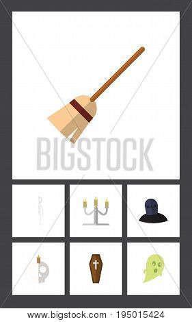 Flat Icon Halloween Set Of Candlestick, Skeleton, Cranium Vector Objects. Also Includes Bones, Skull, Tomb Elements.