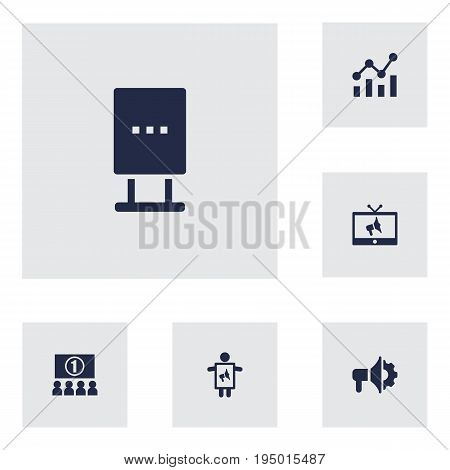 Set Of 6 Commercial Icons Set.Collection Of Billboard, Statistics, Auditorium And Other Elements.