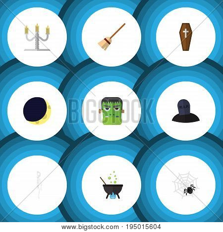 Flat Icon Celebrate Set Of Monster, Tomb, Candlestick Vector Objects. Also Includes Arachnid, Candelabrum, Cranium Elements.