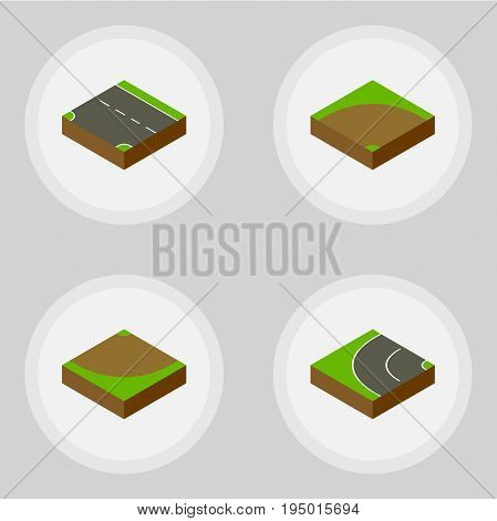 Isometric Road Set Of Downward, Way, Sand Vector Objects. Also Includes Sand, Asphalt, Turn Elements.