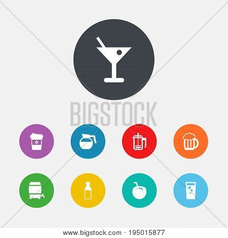 Set Of 9 Drinks Icons Set.Collection Of Soda, Milk Glass, Martini And Other Elements.