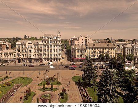 VINNYTSIA, UKRAINE - MAY 18, 2017: View of Soborna square and former hotel