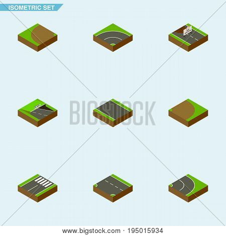 Isometric Way Set Of Without Strip, Repairs, Bitumen And Other Vector Objects. Also Includes Under, Subway, Down Elements.