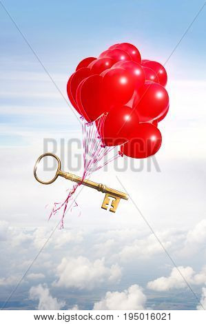 opportunity concept illustrated with helium balloons carrying a golden key