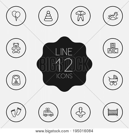 Set Of 12 Child Outline Icons Set.Collection Of Footprints, Pyramid, Rocking Horse And Other Elements.