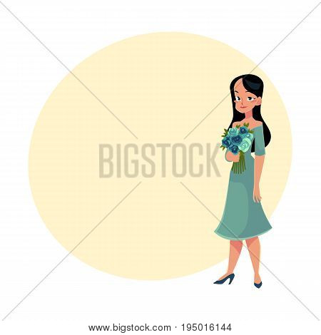 Beautiful woman, girl, bride with long black hair holding bunch of roses, cartoon vector illustration with space for text. Full length portrait of happy girl, woman with bunch of rose flowers