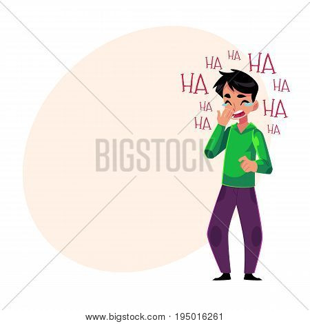 Young man laughing out loud, crying from laughter holding mouth, cartoon vector illustration with space for text. Full length portrait of young man bursting with laughter, laughing to tears