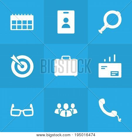 Set Of 9 Business Icons Set.Collection Of Loupe, Spectacles, Colleagues And Other Elements.