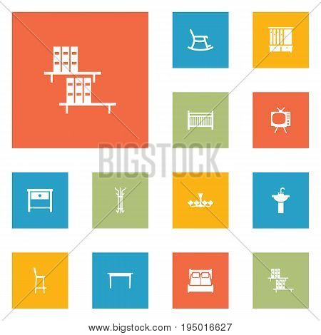 Set Of 12 Set Icons Set.Collection Of Wardrobe, Bedroom, Coat Stand Elements.