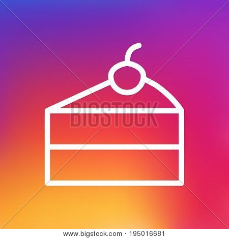 Isolated Sweetmeat Outline Symbol On Clean Background. Vector Cheesecake Element In Trendy Style.
