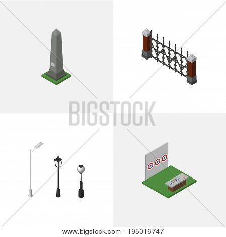 Isometric Architecture Set Of Dc Memorial, Street Lanterns, Aiming Game And Other Vector Objects. Also Includes Lanterns, Aiming, Hedge Elements.