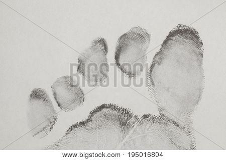 Foot Finger Print On White Background