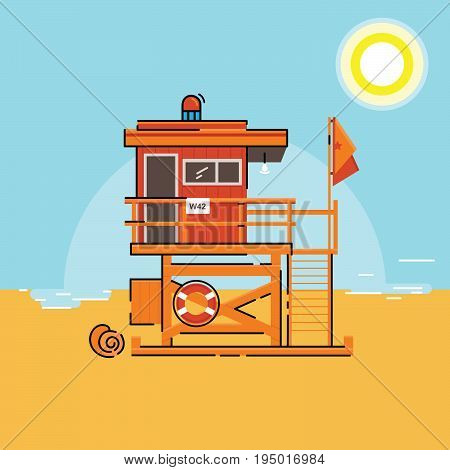 Coast guard station on water vector illustration. Rescue tower vector. The point of safety and rescue on the beach near the ocean