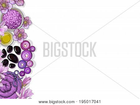 Banner template with border of top view spa salon accessories and flowers on white background, sketch vector illustration. Banner design with spa accessories - massage oil, candles, towels, flowers