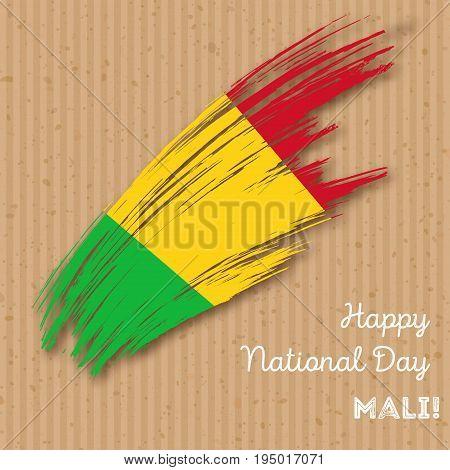 Mali Independence Day Patriotic Design. Expressive Brush Stroke In National Flag Colors On Kraft Pap