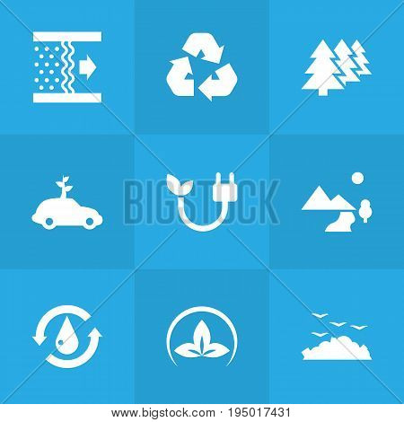 Set Of 9 Ecology Icons Set.Collection Of Car, Treatment, Reforestation And Other Elements.