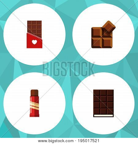 Flat Icon Cacao Set Of Sweet, Cocoa, Chocolate And Other Vector Objects. Also Includes Confection, Shaped, Cocoa Elements.