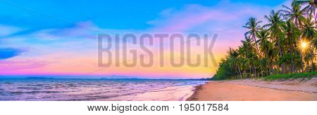 Panorama view of sunset sky on tropical beach in twilight time at Phuket province Southern of Thailand