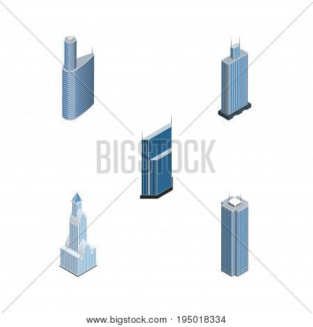Isometric Construction Set Of Business Center, Building, Skyscraper And Other Vector Objects. Also Includes Skyscraper, Cityscape, Center Elements.