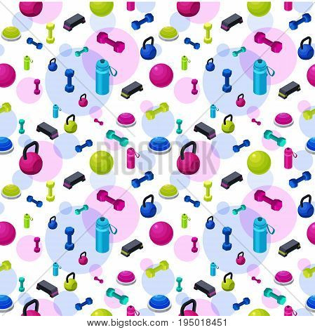 Isometric fitness seamless pattern with set of sports equipment colorful background with dumbells step platforms fit ball half ball bottle collection of workout accessories vector illustration