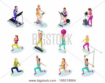 Isometric fitness people set girls running weight lifting with barbell dumbell on step platform with fit ball doing exercises gymnastics cardio training athletics workout with trainer