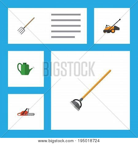 Flat Icon Dacha Set Of Hacksaw, Bailer, Tool And Other Vector Objects. Also Includes Hoe, Cutter, Lawn Elements.