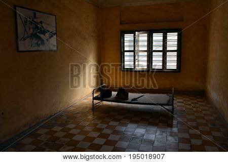 A room at Tuol Seng Genocide Museum in Phnom Penh Cambodia (2015)