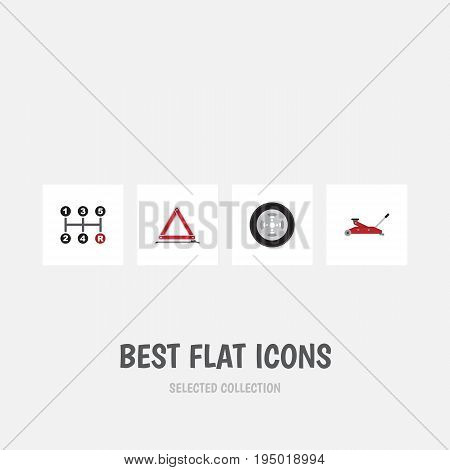 Flat Icon Service Set Of Tire, Warning, Carrying And Other Vector Objects. Also Includes Stop, Wheel, Warning Elements.