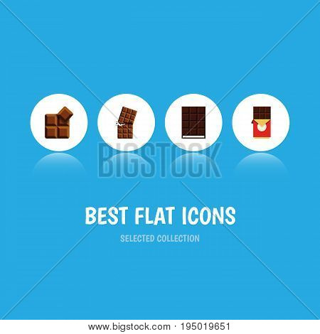 Flat Icon Sweet Set Of Wrapper, Cocoa, Dessert And Other Vector Objects. Also Includes Delicious, Wrapper, Dessert Elements.