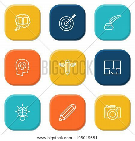 Set Of 9 Creative Outline Icons Set.Collection Of Brain, Knowledge, Concept And Other Elements.
