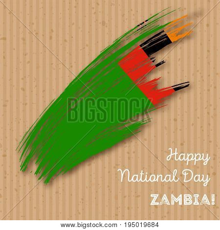 Zambia Independence Day Patriotic Design. Expressive Brush Stroke In National Flag Colors On Kraft P