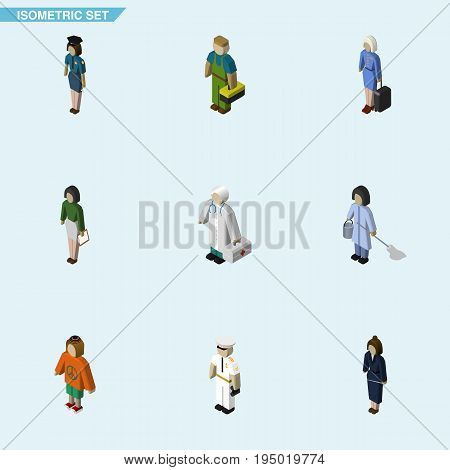 Isometric Human Set Of Pedagogue, Policewoman, Lady And Other Vector Objects. Also Includes Hostess, Mariner, Housemaid Elements.
