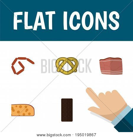 Flat Icon Meal Set Of Beef, Cookie, Confection And Other Vector Objects. Also Includes Bar, Holland, Frankfurt Elements.