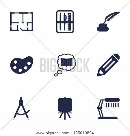 Set Of 9 Constructive Icons Set.Collection Of Scheme, Illuminator, Pencil And Other Elements.