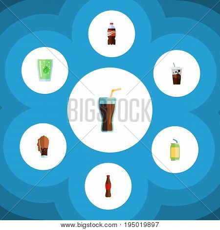 Flat Icon Beverage Set Of Bottle, Soda, Fizzy Drink And Other Vector Objects. Also Includes Soda, Coca, Carbonated Elements.