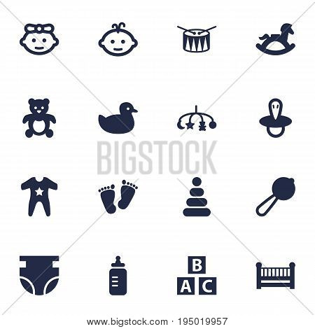 Set Of 16 Kid Icons Set.Collection Of Teat, Milk, Girl And Other Elements.