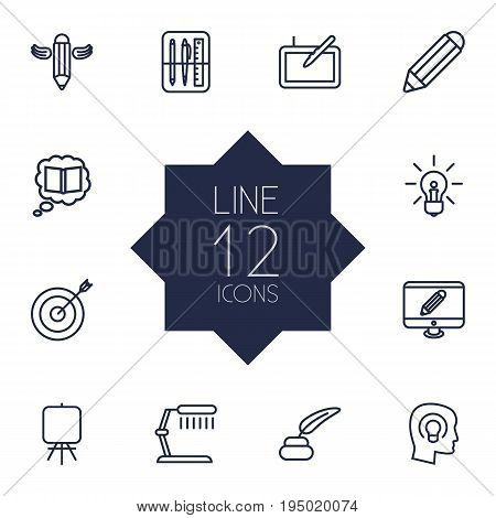 Set Of 12 Constructive Outline Icons Set.Collection Of Pencil, Knowledge, Target And Other Elements.
