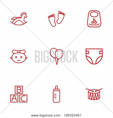 Set Of 9 Baby Outline Icons Set.Collection Of Bottle, Bib, Baby And Other Elements.