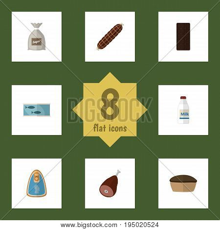 Flat Icon Food Set Of Canned Chicken, Confection, Bottle And Other Vector Objects. Also Includes Canned, Chicken, Confection Elements.