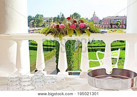 On the balcony of ancient palace of the Polish tycoons Potocki in Tulchyn, Ukraine