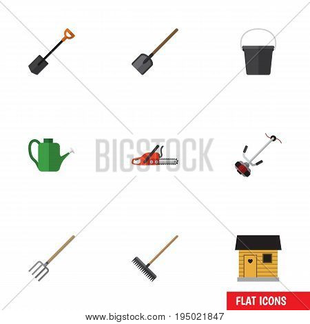 Flat Icon Farm Set Of Bailer, Harrow, Grass-Cutter And Other Vector Objects. Also Includes Blade, Barn, Container Elements.