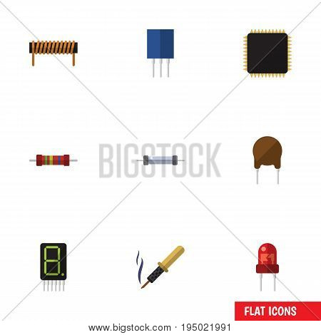 Flat Icon Technology Set Of Resistor, Cpu, Bobbin And Other Vector Objects. Also Includes Bobbin, Transistor, Electronics Elements.