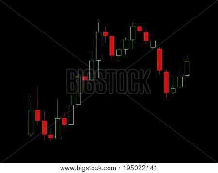 Schedule of trading on the stock market. Trader screen Forex stock candles. Vector illustration