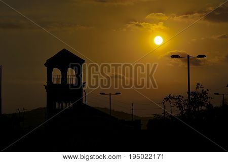 High contrast landscape sunset scene at guayaquil outskirt Ecuador