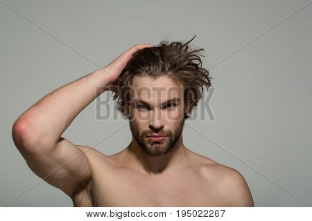 Handsome Man With Beard And Stylish Hair, Morning And Fashion