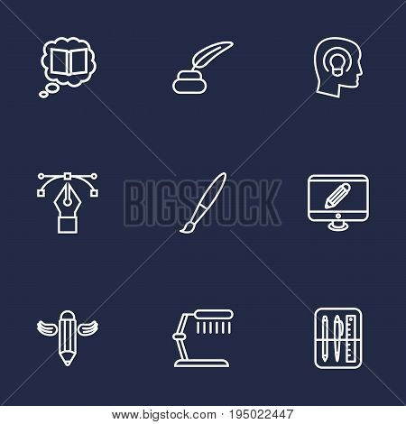 Set Of 9 Constructive Outline Icons Set.Collection Of Writing, Paintbrush, Monitor And Other Elements.