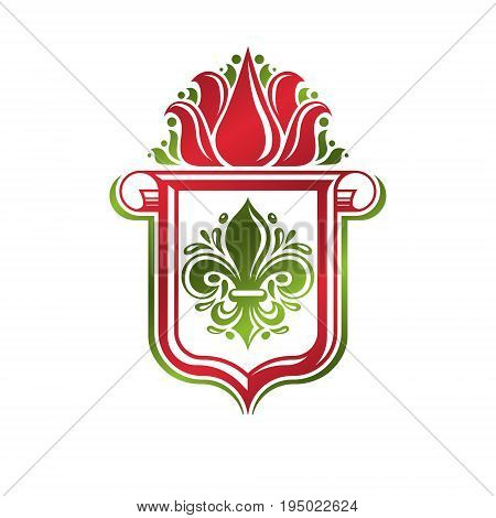 Vintage heraldic emblem created with lily flower royal symbol. Eco friendly product symbol environment protection theme illustration shield decorated with cartouche.