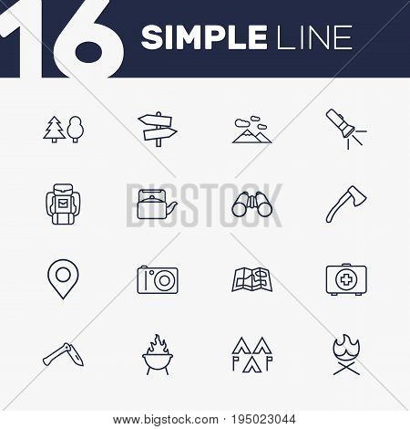 Set Of 16 Camping Outline Icons Set.Collection Of Guidepost, Forest, Grill And Other Elements.