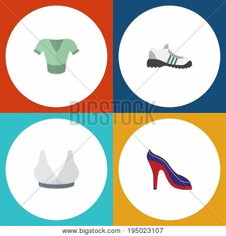Flat Icon Garment Set Of Sneakers, Brasserie, Heeled Shoe And Other Vector Objects. Also Includes Sport, Sandal, Shoes Elements.